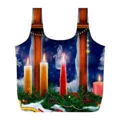 Christmas Lighting Candles Full Print Recycle Bags (L)