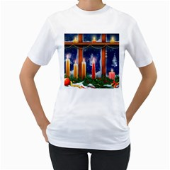 Christmas Lighting Candles Women s T-Shirt (White)
