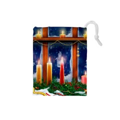 Christmas Lighting Candles Drawstring Pouches (Small)