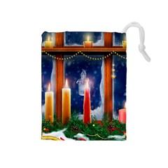 Christmas Lighting Candles Drawstring Pouches (Medium)