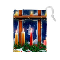 Christmas Lighting Candles Drawstring Pouches (Large)