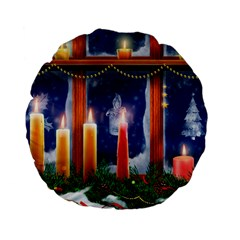 Christmas Lighting Candles Standard 15  Premium Flano Round Cushions