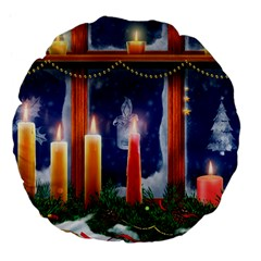 Christmas Lighting Candles Large 18  Premium Flano Round Cushions