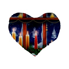 Christmas Lighting Candles Standard 16  Premium Flano Heart Shape Cushions