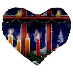 Christmas Lighting Candles Large 19  Premium Flano Heart Shape Cushions