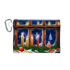Christmas Lighting Candles Canvas Cosmetic Bag (M)