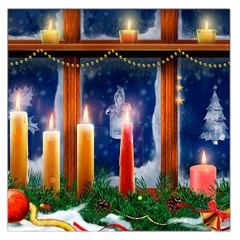 Christmas Lighting Candles Large Satin Scarf (Square)