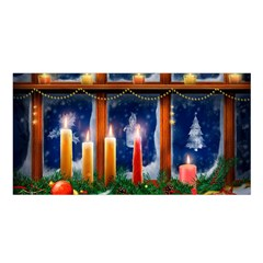 Christmas Lighting Candles Satin Shawl