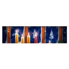 Christmas Lighting Candles Satin Scarf (Oblong)