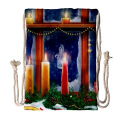 Christmas Lighting Candles Drawstring Bag (Large)