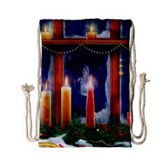 Christmas Lighting Candles Drawstring Bag (Small)