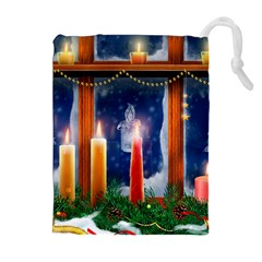 Christmas Lighting Candles Drawstring Pouches (Extra Large)