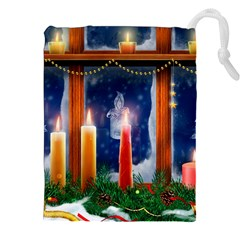 Christmas Lighting Candles Drawstring Pouches (XXL)