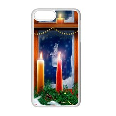 Christmas Lighting Candles Apple iPhone 7 Plus White Seamless Case