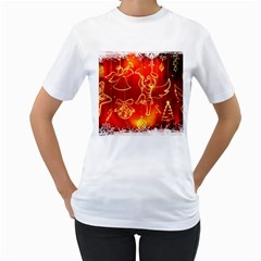 Christmas Widescreen Decoration Women s T-Shirt (White) (Two Sided)