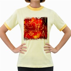 Christmas Widescreen Decoration Women s Fitted Ringer T-Shirts