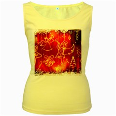 Christmas Widescreen Decoration Women s Yellow Tank Top