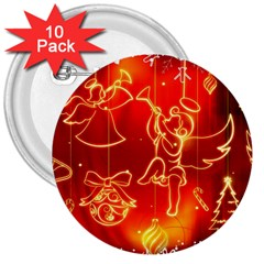 Christmas Widescreen Decoration 3  Buttons (10 pack)