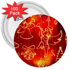 Christmas Widescreen Decoration 3  Buttons (100 pack)