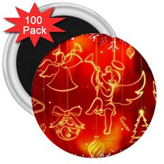 Christmas Widescreen Decoration 3  Magnets (100 pack)
