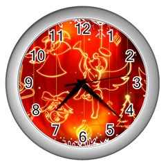 Christmas Widescreen Decoration Wall Clocks (Silver)