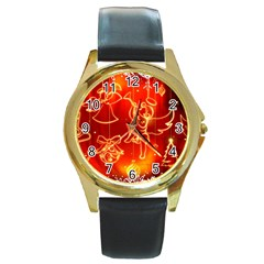 Christmas Widescreen Decoration Round Gold Metal Watch