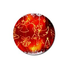 Christmas Widescreen Decoration Rubber Coaster (Round)