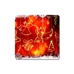 Christmas Widescreen Decoration Square Magnet