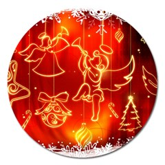 Christmas Widescreen Decoration Magnet 5  (Round)