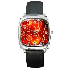 Christmas Widescreen Decoration Square Metal Watch