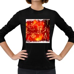 Christmas Widescreen Decoration Women s Long Sleeve Dark T-Shirts