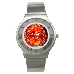 Christmas Widescreen Decoration Stainless Steel Watch