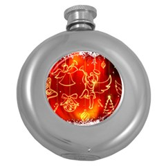 Christmas Widescreen Decoration Round Hip Flask (5 oz)