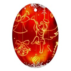 Christmas Widescreen Decoration Oval Ornament (Two Sides)