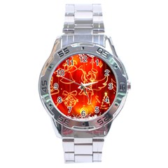 Christmas Widescreen Decoration Stainless Steel Analogue Watch