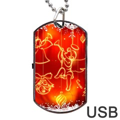 Christmas Widescreen Decoration Dog Tag USB Flash (Two Sides)