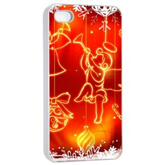 Christmas Widescreen Decoration Apple iPhone 4/4s Seamless Case (White)