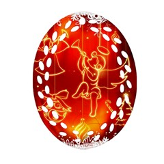 Christmas Widescreen Decoration Ornament (Oval Filigree)