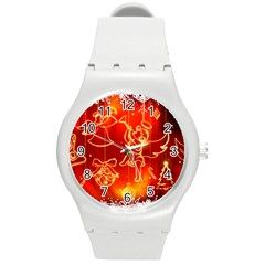 Christmas Widescreen Decoration Round Plastic Sport Watch (M)
