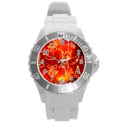 Christmas Widescreen Decoration Round Plastic Sport Watch (L)