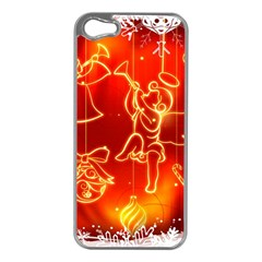 Christmas Widescreen Decoration Apple iPhone 5 Case (Silver)