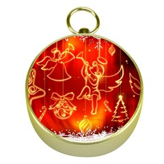 Christmas Widescreen Decoration Gold Compasses