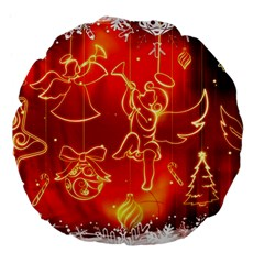 Christmas Widescreen Decoration Large 18  Premium Flano Round Cushions