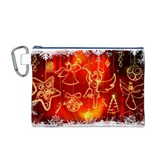 Christmas Widescreen Decoration Canvas Cosmetic Bag (M)