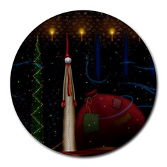 Christmas Xmas Bag Pattern Round Mousepads