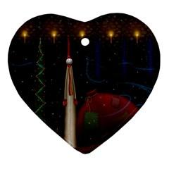 Christmas Xmas Bag Pattern Ornament (Heart)