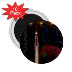 Christmas Xmas Bag Pattern 2.25  Magnets (10 pack)