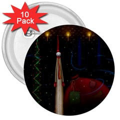 Christmas Xmas Bag Pattern 3  Buttons (10 pack)