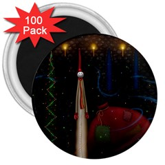 Christmas Xmas Bag Pattern 3  Magnets (100 pack)