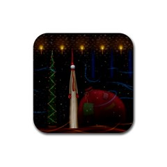 Christmas Xmas Bag Pattern Rubber Square Coaster (4 pack)